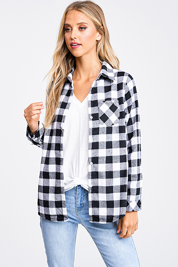 $30 - Cute cheap blue stripe long sleeve tie wrist button up boho blouse top - Black buffalo plaid fleece lined long sleeve button up flannel top