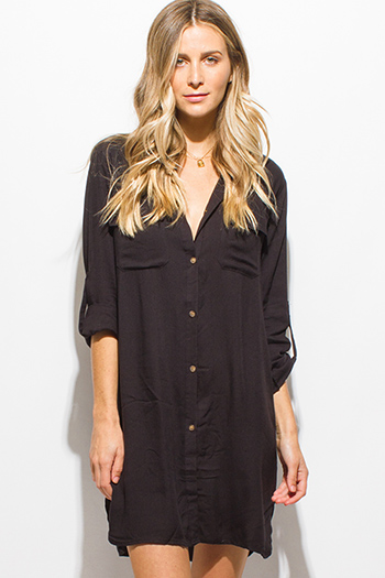 $15 - Cute cheap black button up long sleeve side slit tunic boho mini shirt dress