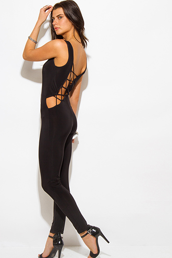 $20 - Cute cheap black ribbed fitted sweater - black caged cut out back fitted bodycon sexy clubbing catsuit jumpsuit