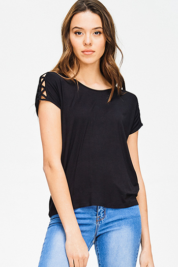$10 - Cute cheap black lace sleeve double breasted golden button blazer top - black caged cut out short sleeve sexy party tee shirt top