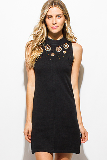 $15 - Cute cheap shift dress - black cashmere blend knit sleeveless rhinestone bejeweled mock neck sexy party shift mini dress