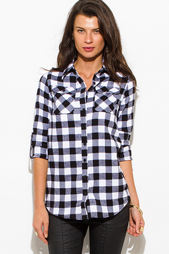 $15 - Cute cheap navy blue plaid flannel sleeveless button up drawstring blouse top - black checker plaid flannel long sleeve button up blouse top