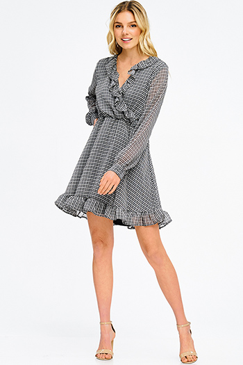 $15 - Cute cheap brown open back dress - black checker plaid print chiffon faux wrap ruffle hem long sleeve a line skater mini dress
