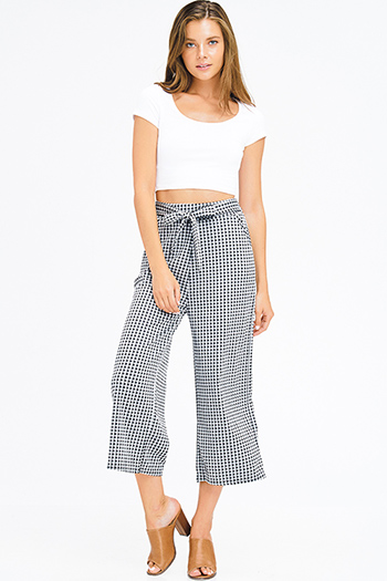 $9 - Cute cheap blue washed denim ripped distressed high waisted crop boyfriend jeans - black checkered knit tie high waist pocketed trouser boho wide leg culotte pants