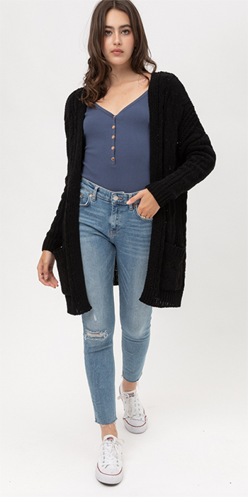 $30 - Cute cheap boho vest - black chenille chunky cable knit open front pocketed boho sweater cardigan