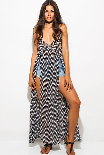 $15 - Cute cheap print crochet dress - black chevron abstract print chiffon double high slit boho beach cover up maxi sun dress