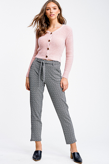 $13 - Cute cheap career wear - Black chevron striped mid rise fleece lined belted tapered knit pants