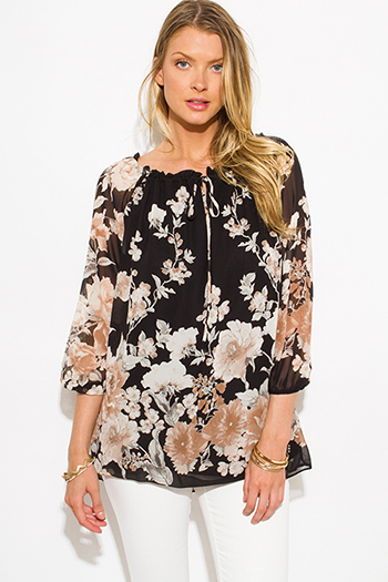 $15 - Cute cheap crepe top - black chiffon floral print quarter blouson sleeve boho blouse tunic top
