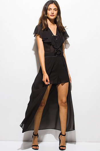 $12 - Cute cheap black chiffon golden chain embellished pocketed sexy clubbing jumpsuit - black chiffon cape high low banded waist shorts insert party maxi skirt