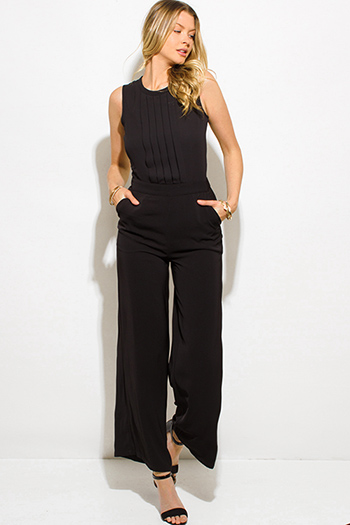 $15 - Cute cheap chiffon crochet fringe jumpsuit - black chiffon pleated sleeveless pocketed wide leg evening sexy party jumpsuit