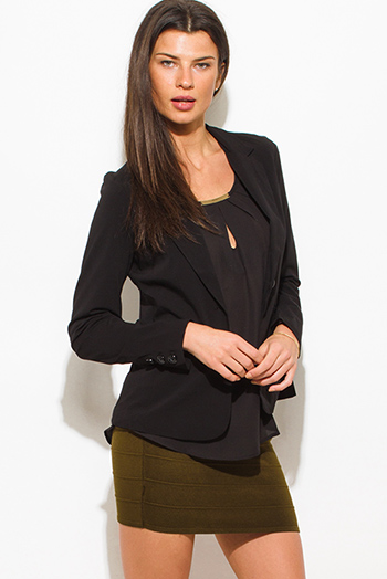 $15 - Cute cheap black blazer - black classic button close suiting blazer top