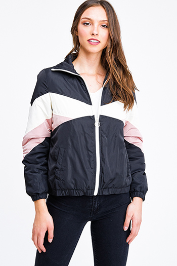 $25 - Cute cheap navy blue sheer floral print zip up boho bomber jacket - Black color block long sleeve zip up pocketed puffer track jacket top