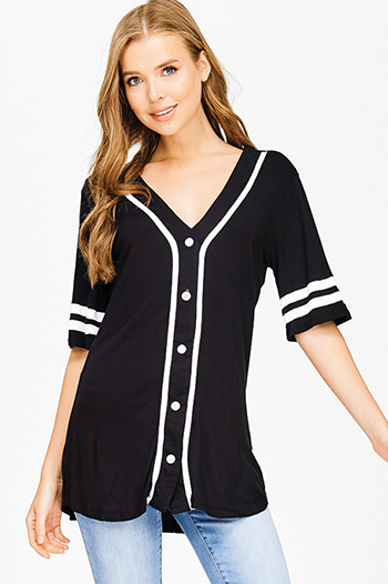 $15 - Cute cheap fitted top - black color block rayon jersey v neck button up tunic baseball jersey top