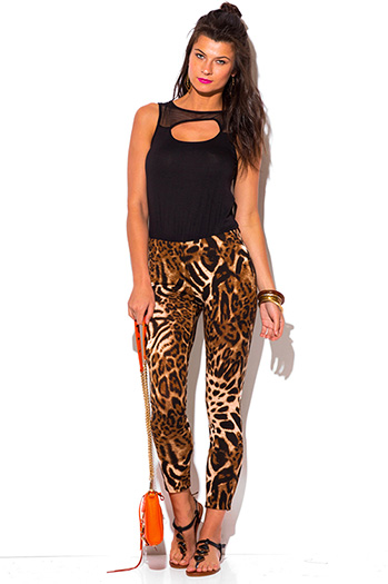 $10 - Cute cheap leopard animal print mesh cut out backlesss 2fer fitted sexy party catsuit jumpsuit