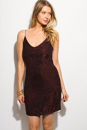 $15 - Cute cheap lace baroque fitted dress - black copper metallic lurex spaghetti strap bodycon fitted sexy club cocktail party mini dress