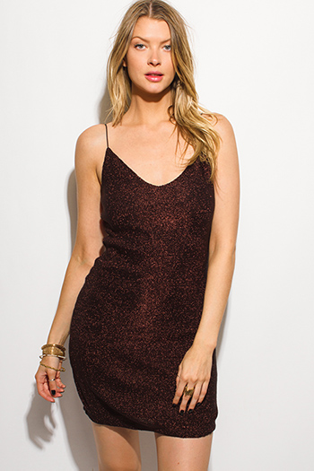 $15 - Cute cheap draped bejeweled dress - black copper metallic lurex spaghetti strap bodycon fitted sexy club cocktail party mini dress