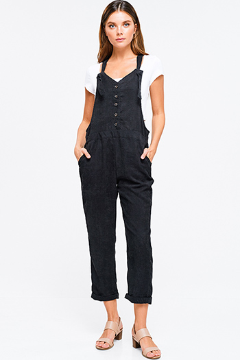 $25 - Cute cheap open back fitted sexy party catsuit - Black corduroy harem rolled hem button up racer back pocketed boho overalls jumpsuit