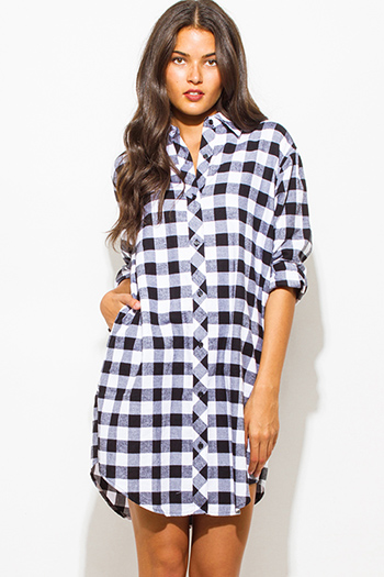 $15 - Cute cheap charcoal and navy plaid long sleeve belted button up tunic top boho mini shirt dress - black cotton button up long sleeve checker plaid flannel tunic blouse top mini dress