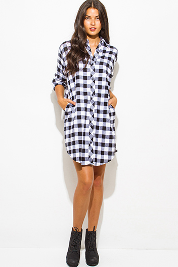 $15 - Cute cheap white checker grid print button up long sleeve boho blouse top - black cotton button up long sleeve checker plaid flannel tunic blouse top mini dress