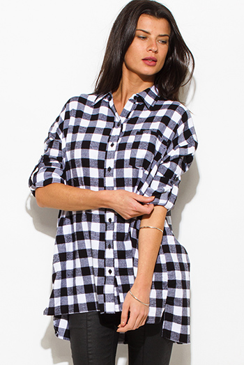 $20 - Cute cheap plaid dress - black cotton button up long sleeve oversized checker plaid flannel tunic top