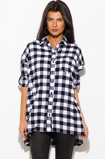 $15 - Cute cheap black pinstripe collarless short cuffed cap sleeve zip up blouse top - black cotton button up long sleeve oversized checker plaid flannel tunic top