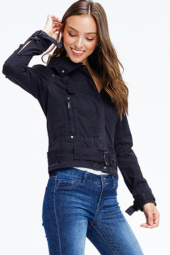 $15 - Cute cheap print fringe jacket - black cotton denim long sleeve zip up biker moto jacket