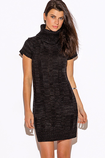 $20 - Cute cheap ribbed backless sweater - black cowl neck cable knit ribbed sweater shift dress
