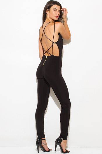 $20 - Cute cheap mesh sheer backless jumpsuit - black criss cross caged cut out front bodycon fitted criss cross caged backless sexy clubbing catsuit jumpsuit