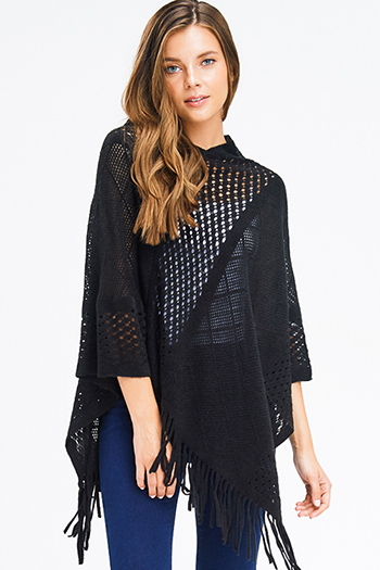 $15 - Cute cheap charcoal gray black ethnic print waterfall open front draped sweater knit boho cardigan - black crochet knit asymmetrical fringe trim shawl poncho sweater knit jacket