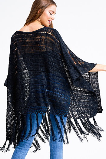 $15 - Cute cheap black v neck gathered knot front boho sleeveless top - Black crochet knit tassel fringe hem boho poncho jacket top