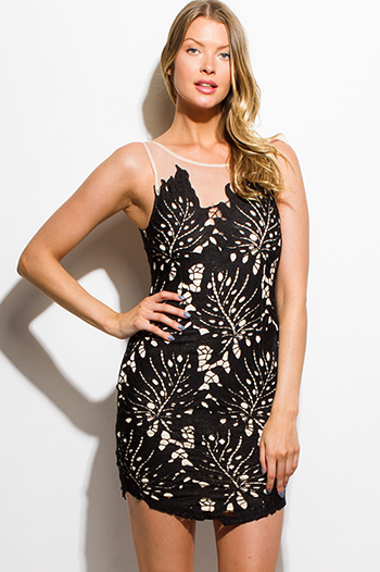 $20 - Cute cheap v neck bodycon party mini dress - black crochet lace sheer mesh open back bodycon fitted cocktail party mini sexy club dress