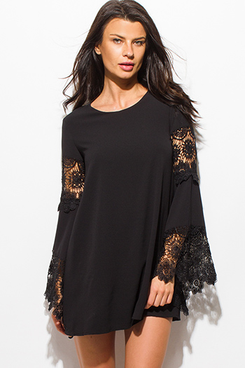 $15 - Cute cheap peplum mini dress - black crochet lace trim bell sleeve cocktail sexy party boho shift mini dress