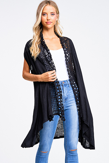 $20 - Cute cheap wide leg pocketed jumpsuit - Black crochet lace trim waterfall draped neck pocketed boho duster cardigan