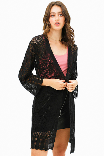 $25 - Cute cheap lace bell sleeve dress - Black crochet long bell sleeve scallop hem open front boho duster cardigan