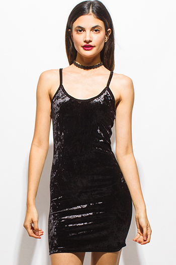 $15 - Cute cheap baroque open back dress - black crushed velvet scoop neck spaghetti strap bodycon fitted mini dress