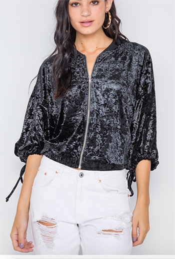 $24.50 - Cute cheap beach cover up - black crushed velvet zip up 3/4 sleeve sweater