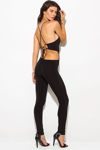 $12 - Cute cheap black fitted skinny pants - black cut out bodycon fitted backless criss cross strap back sexy clubbing catsuit jumpsuit