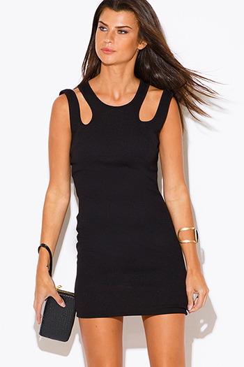 $10 - Cute cheap neon pink cut out backless deep v neck peplum fitted bodycon party mini dress - black cut out cold shoulder sexy clubbing fitted party mini dress