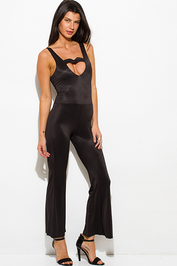 $8 - Cute cheap black halter embellished cut out open back peplum sexy party suiting tank top - black cut out sweetheart backless wide leg evening cocktail party jumpsuit
