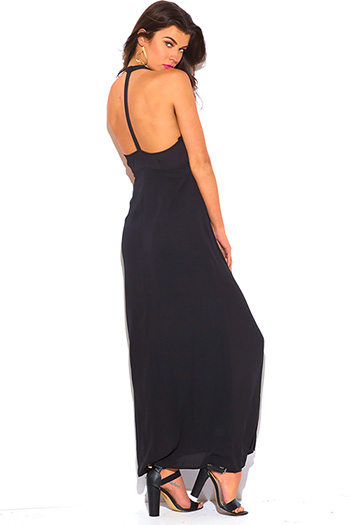 $10 - Cute cheap black chiffon spaghetti strap tiered side slit evening sexy party maxi sun dress - black T back deep v neck backless chiffon overlay evening cocktail party maxi sun dress