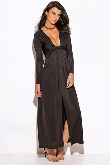 $15 - Cute cheap crepe slit sun dress - black deep v neck knot high slit long sleeve formal evening sexy party maxi dress