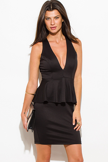 $20 - Cute cheap black crepe dress - black deep v neck sleeveless cross back fitted bodycon cocktail sexy party peplum mini dress