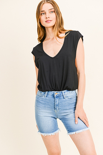 $15 - Cute cheap velvet v neck dress - Black deep v neck wide cut short cap sleeve bodysuit top