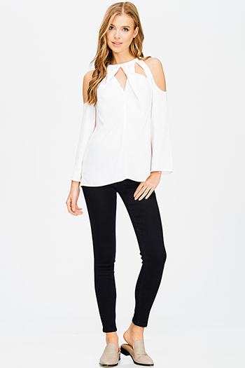 $15 - Cute cheap high low blouse - black denim low rise ankle fitted skinny jeans