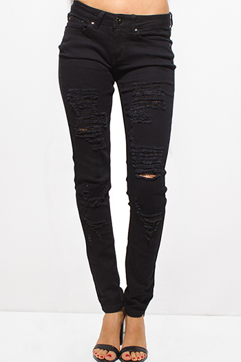 $20 - Cute cheap blue washed denim mid rise distressed frayed ripped skinny fit jeans - black denim mid rise distressed ripped fitted skinny jeans