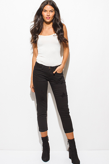$20 - Cute cheap black sexy party catsuit - black denim ripped distressed mid rise cuffed cropped boyfriend jeans