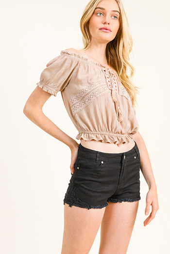 $15 - Cute cheap black linen mid rise tie waisted pocketed resort boho shorts - Black denim twill crochet lace applique frayed cutoff hem summer jean shorts