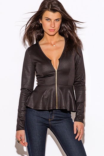 $20 - Cute cheap black long sleeve faux leather patch ribbed slub tee shirt top - black diamond print zip up long sleeve peplum blazer jacket top
