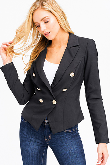 $25 - Cute cheap olive green denim mid rise distressed frayed double button skinny jeans - black double breasted long sleeve golden button fitted blazer jacket