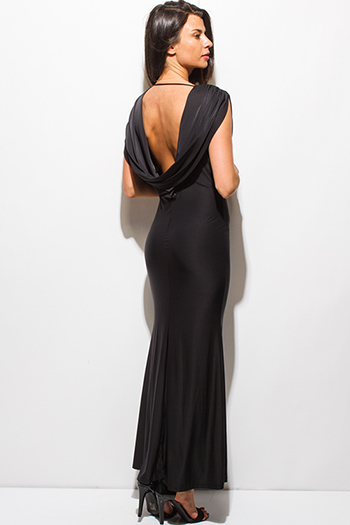 $20 - Cute cheap gold slit dress - black draped cowl neck backless formal open back evening sexy party maxi dress